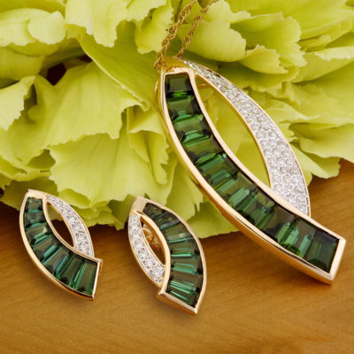 Green Tourmaline Pendant Set Jaipur Jewels by vaibhav DHadda