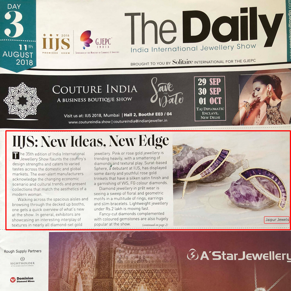Press Coverage at IIJS of Jaipur Jewels