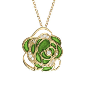 Green Rose Enamel Pendant Jaipur Jewels by Vaibhav Dhadda